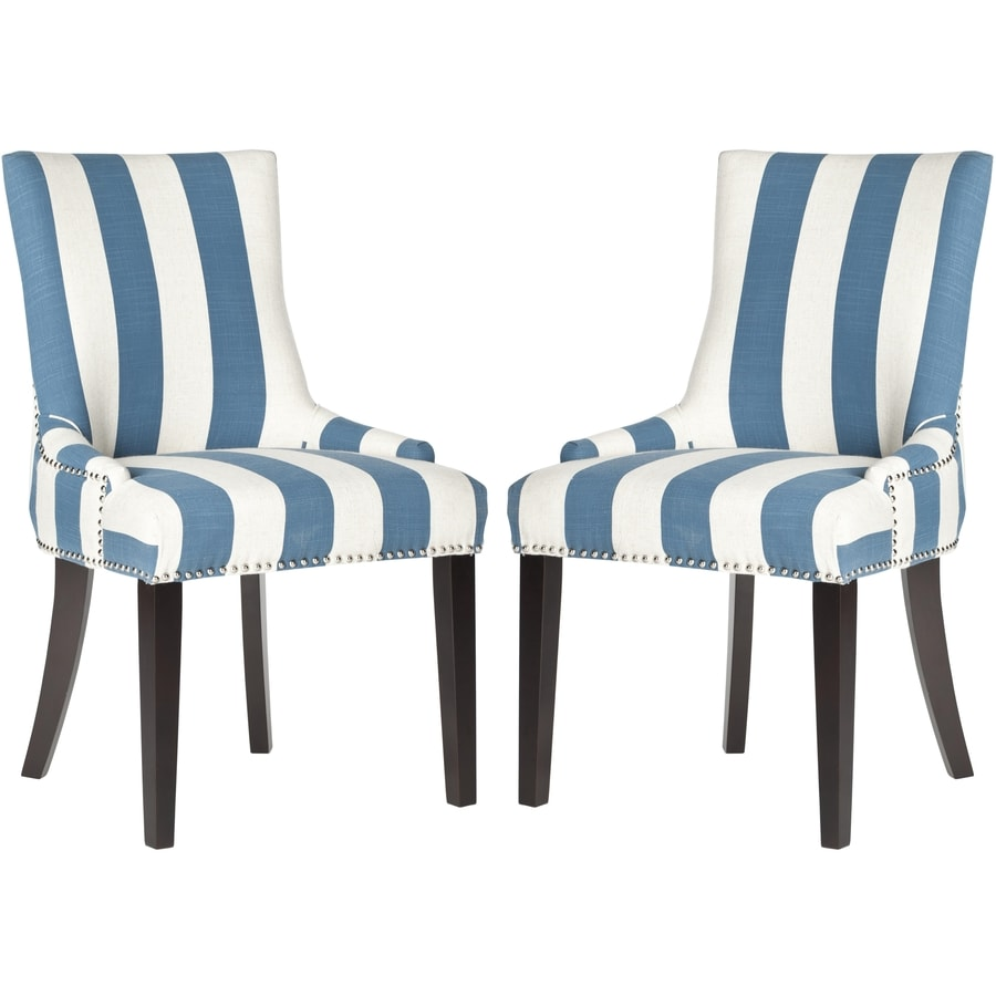 Safavieh Set of 2 Mercer Blue/White Stripe Side Chairs