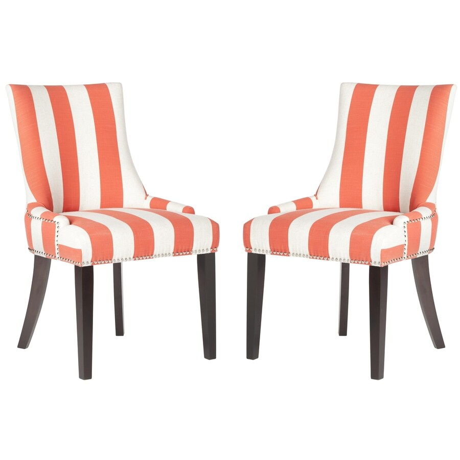 Safavieh Set of 2 Mercer Orange/White Stripe Side Chairs