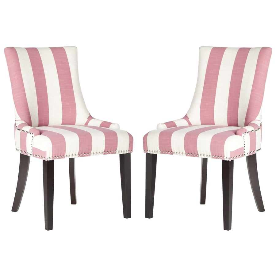 Safavieh Set of 2 Mercer Pink/White Stripe Side Chairs