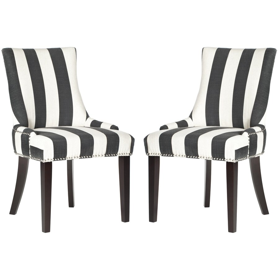 Safavieh Set of 2 Mercer Charcoal/White Stripe Side Chairs