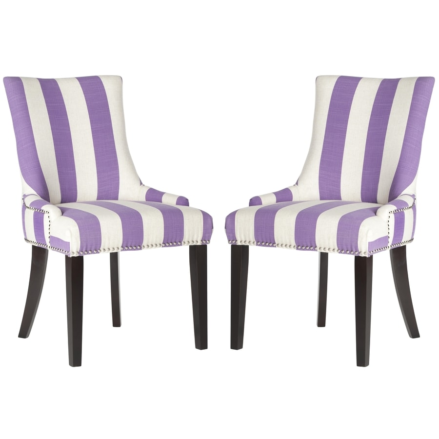Safavieh Set of 2 Mercer Lavander/White Stripe Side Chairs