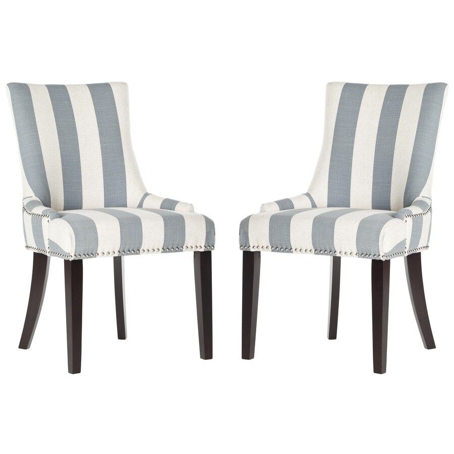 Safavieh Set of 2 Mercer Gray/White Stripe Side Chairs