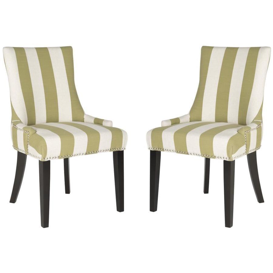 Safavieh Set of 2 Mercer Sweet Pea Green/White Stripe Side Chairs