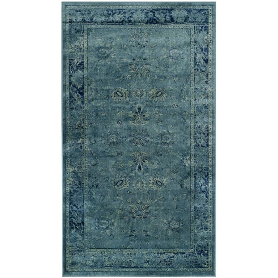 Safavieh Vintage Mosed Turquoise Indoor Distressed Throw Rug (Common: 2 x 4; Actual: 2.7-ft W x 4-ft L)