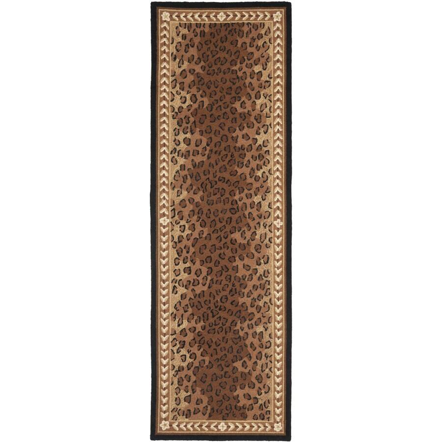 Safavieh Chelsea Leopard Black/Brown Rectangular Indoor Handcrafted Lodge Runner (Common: 2 X 16; Actual: 2.5-ft W x 16-ft L)