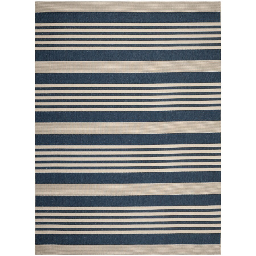 Safavieh Courtyard Dobby 7 X 10 Navy Beige Indoor Outdoor Stripe Coastal Area Rug In The Rugs Department At Lowes Com