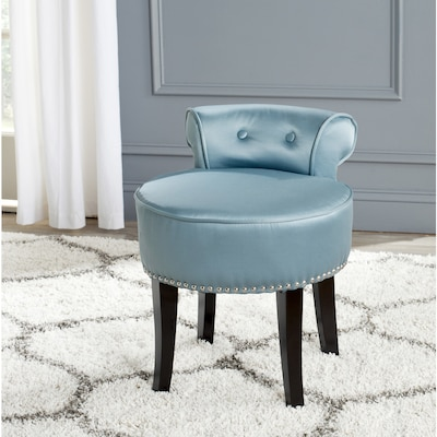Miraculous Safavieh 22 8 In H Teal Round Makeup Vanity Stool At Lowes Com Machost Co Dining Chair Design Ideas Machostcouk