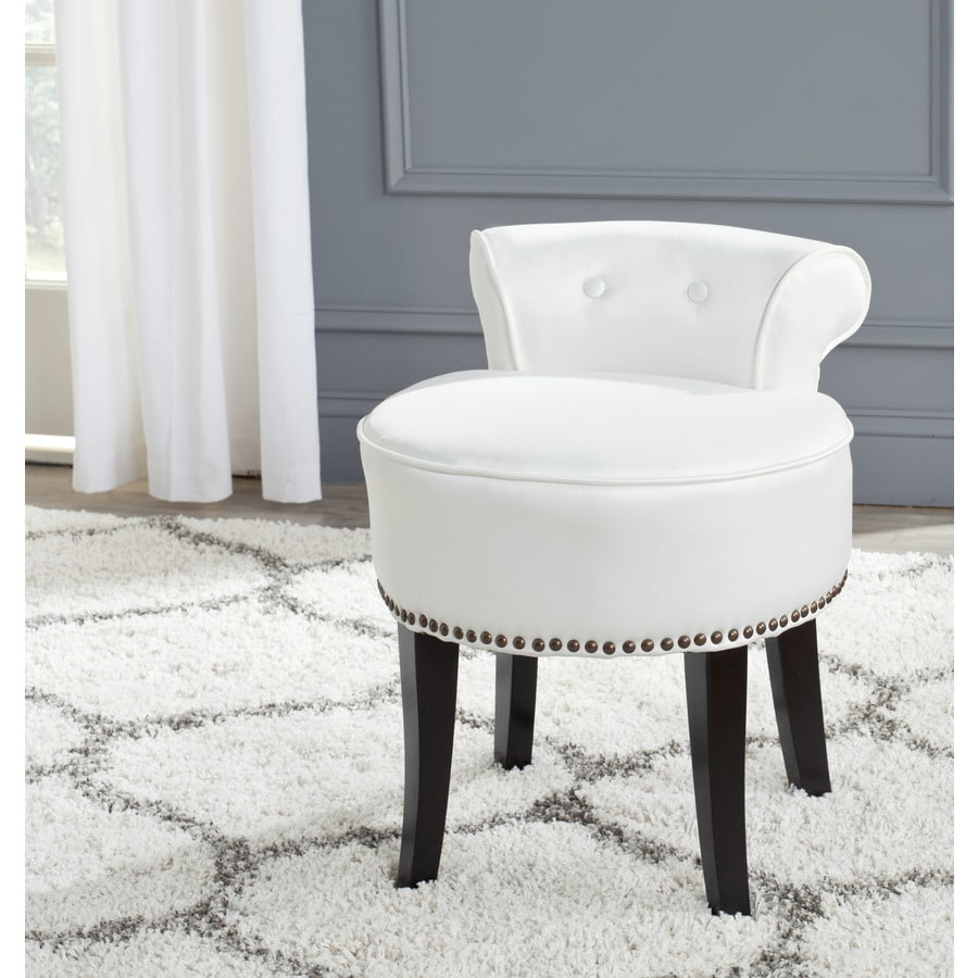 Safavieh 22 8 In H White Round Makeup Vanity Stool In The Makeup Vanity Stools Department At Lowes Com