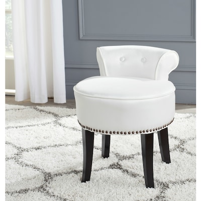 Safavieh 22 8 In H White Round Makeup Vanity Stool At Lowes