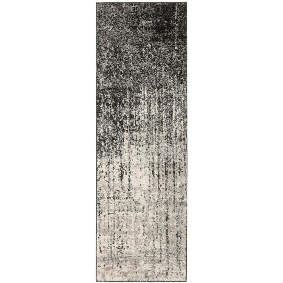 Safavieh Retro Elan Black/Light Gray Rectangular Indoor Machine-made Distressed Runner (Common: 2 x 11; Actual: 2.25-ft W x 11-ft L)