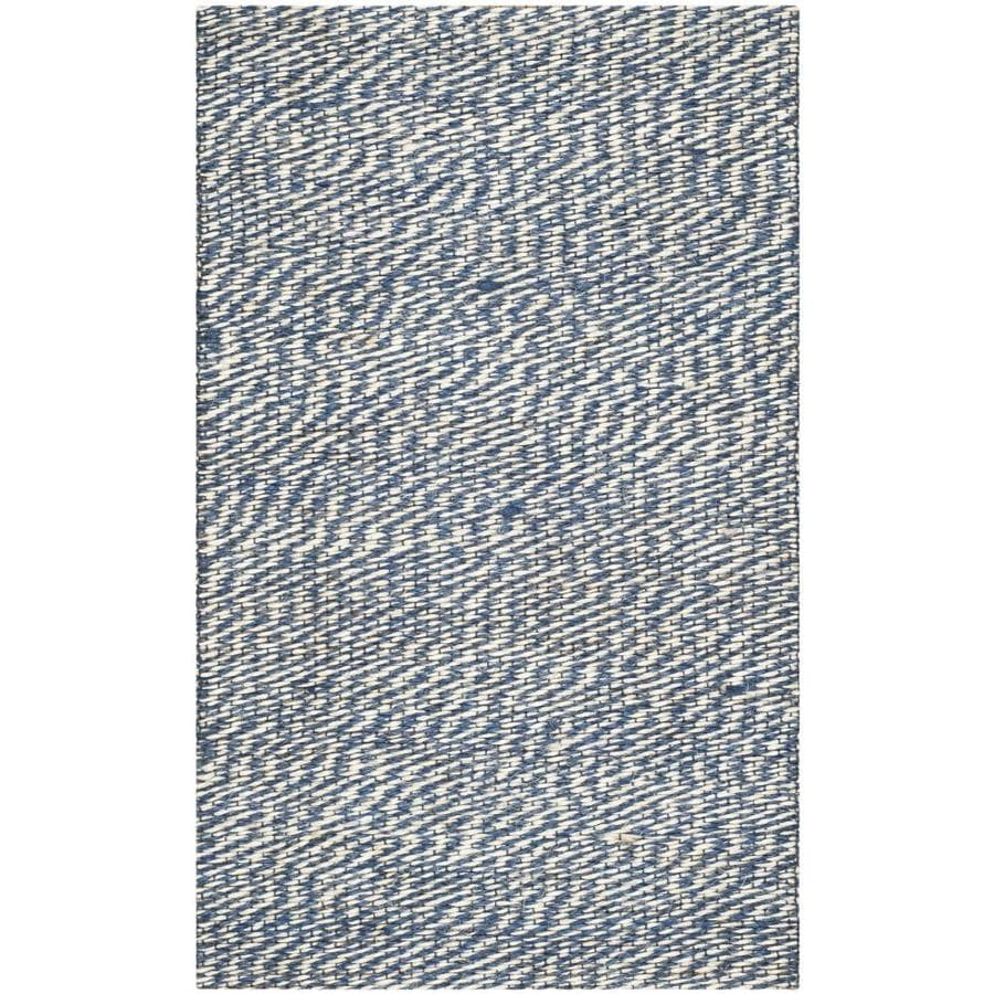 Safavieh Natural Fiber Nassau Blue/Ivory Indoor Handcrafted Coastal Throw Rug (Common: 2 x 4; Actual: 2.5-ft W x 4-ft L)