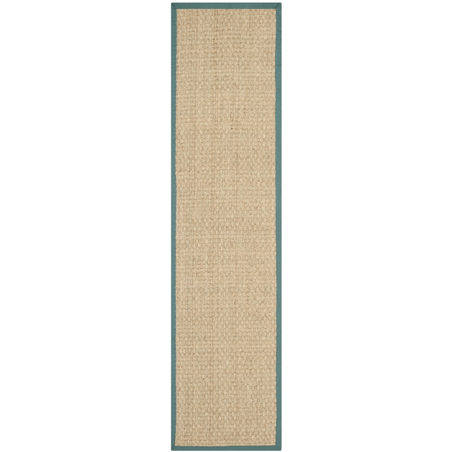Safavieh Natural Fiber Hampton Natural/Light Blue Rectangular Indoor Machine-made Coastal Runner (Common: 2 x 14; Actual: 2.5-ft W x 14-ft L)