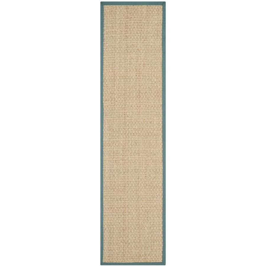 Safavieh Natural Fiber Hampton Natural/Light Blue Rectangular Indoor Machine-made Coastal Runner (Common: 2 x 6; Actual: 2.5-ft W x 6-ft L)