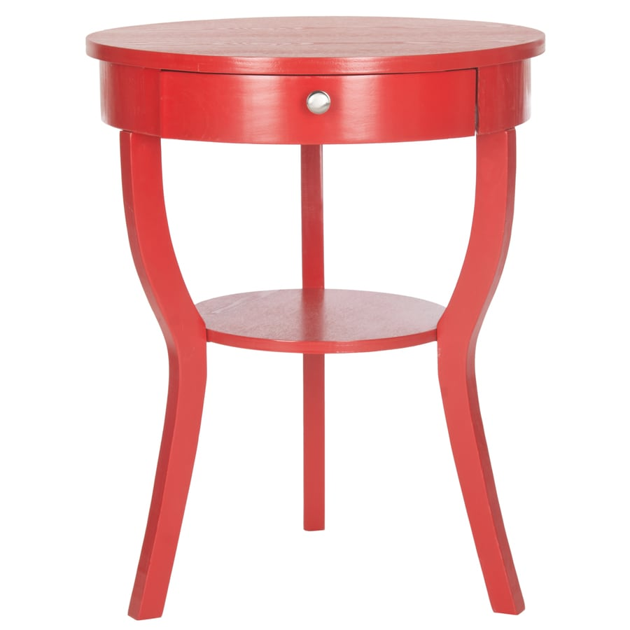 Shop safavieh kendra hot red pine end table at for Red side table