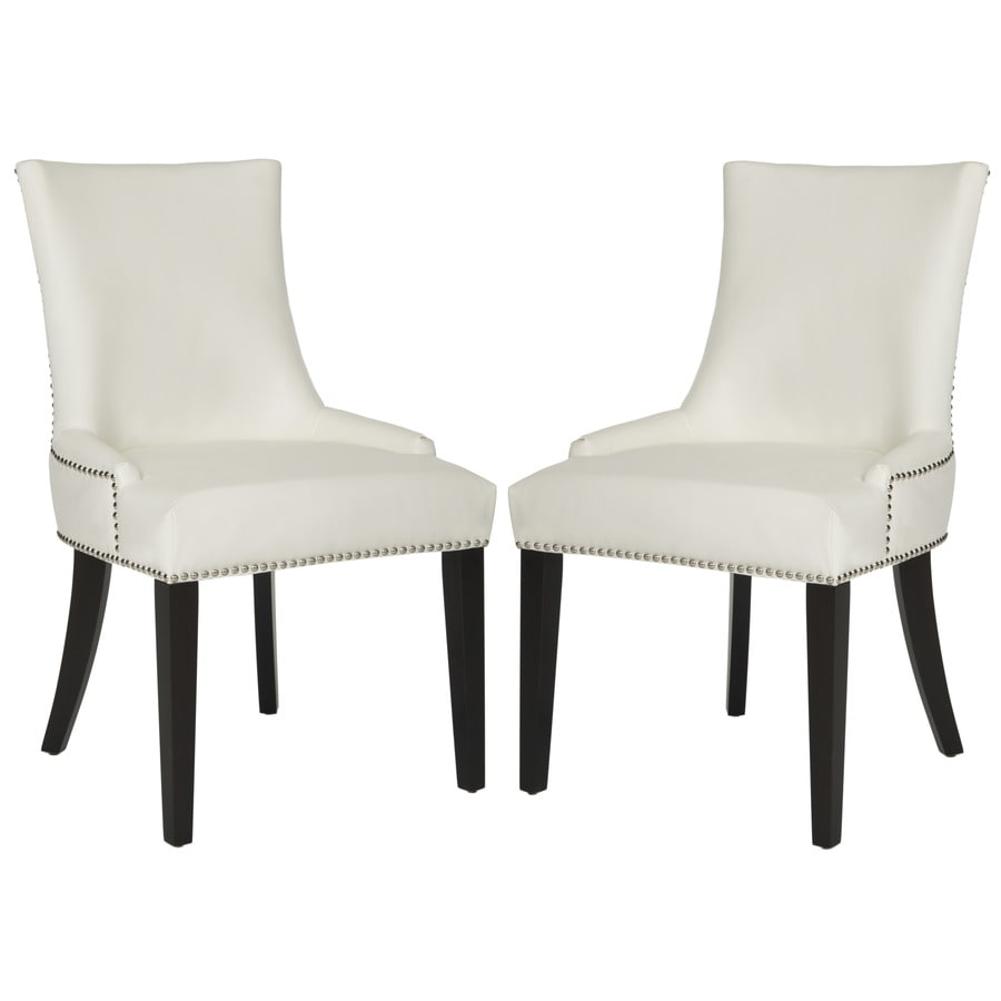 Safavieh Set of 2 Mercer White Leather Side Chairs