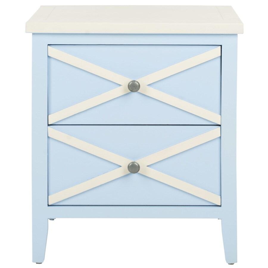 Safavieh American Home Light Blue/White Poplar Rectangular End Table