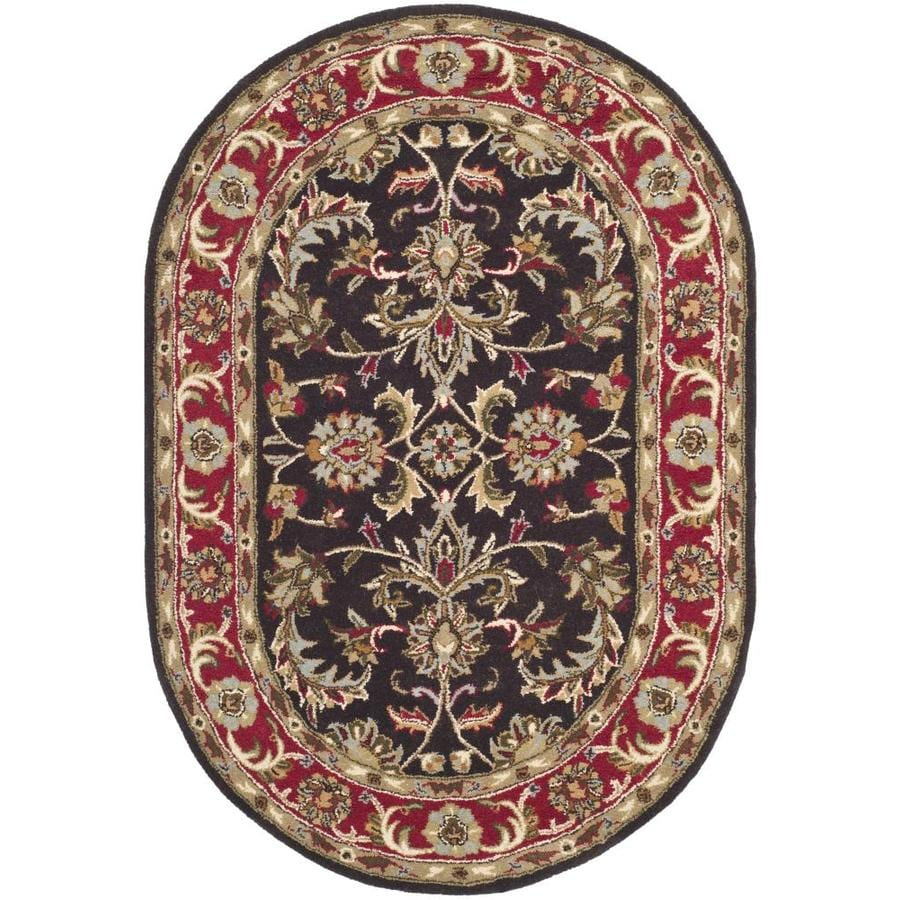 Safavieh Heritage Meerut 8 X 10 Chocolate Red Oval Indoor Floral Botanical Oriental Handcrafted Area Rug In The Rugs Department At Lowes Com