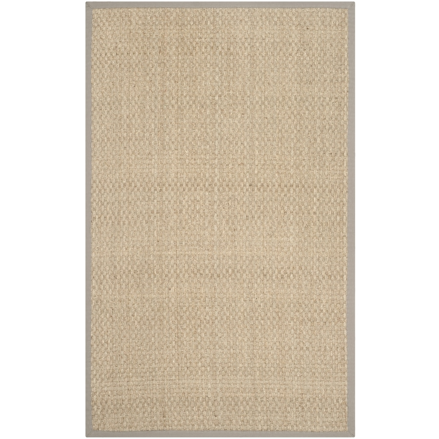 Safavieh Natural Fiber Hampton Natural/Gray Rectangular Indoor Machine-Made Coastal Throw Rug (Common: 3 x 5; Actual: 3-ft W x 5-ft L)