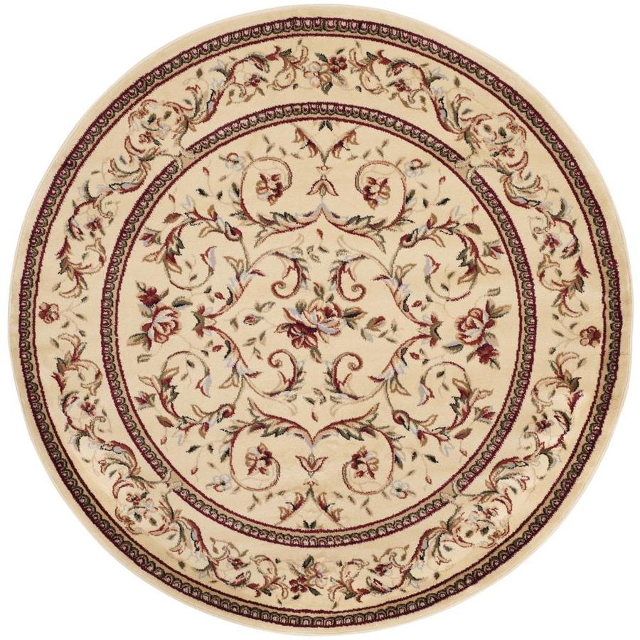 Safavieh Lyndhurst Lyon Ivory/Ivory Round Indoor Machine-made Oriental Area Rug (Common: 5 x 5; Actual: 5.25-ft W x 5.25-ft L x 5.25-ft dia)