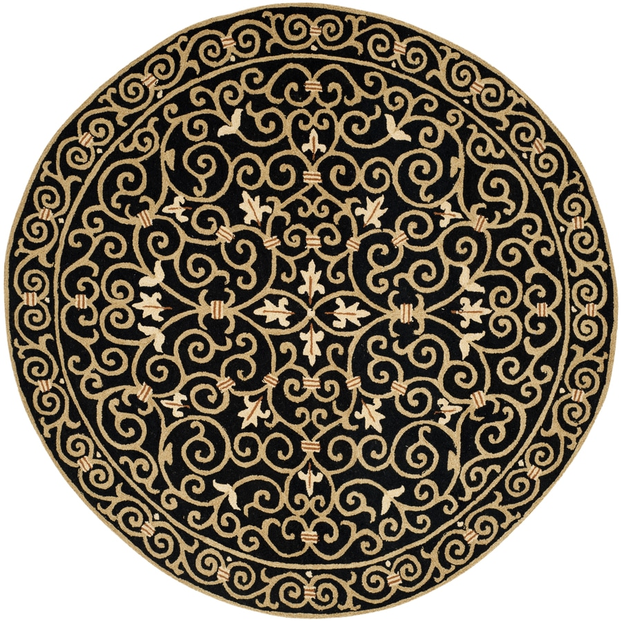 Safavieh Chelsea Black Oval Indoor Hand-Hooked Lodge Area Rug (Common: 4 x 6; Actual: 4.5-ft W x 6.6-ft L x 0-ft Dia)