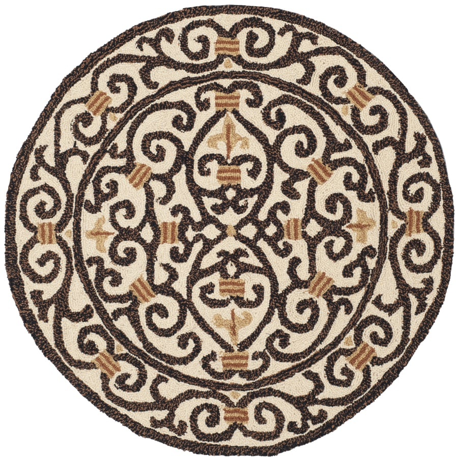 Safavieh Chelsea Iron Gate Ivory and Dark Brown Round Indoor Handcrafted Lodge Area Rug (Common: 4 x 4; Actual: 4-ft W x 4-ft L x 4-ft Dia)