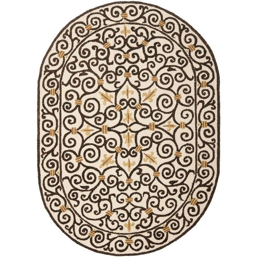 Safavieh Chelsea Iron Gate Ivory And Dark Brown Oval Indoor Handcrafted Lodge Area Rug (Common: 7 x 9; Actual: 7.5-ft W x 9.5-ft L)