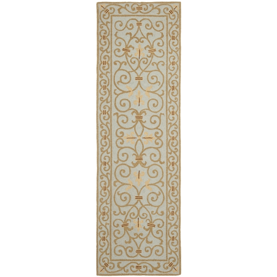 Safavieh Chelsea Iron Gate Light Blue Indoor Handcrafted Lodge Runner (Common: 2 x 12; Actual: 2.5-ft W x 12-ft L)