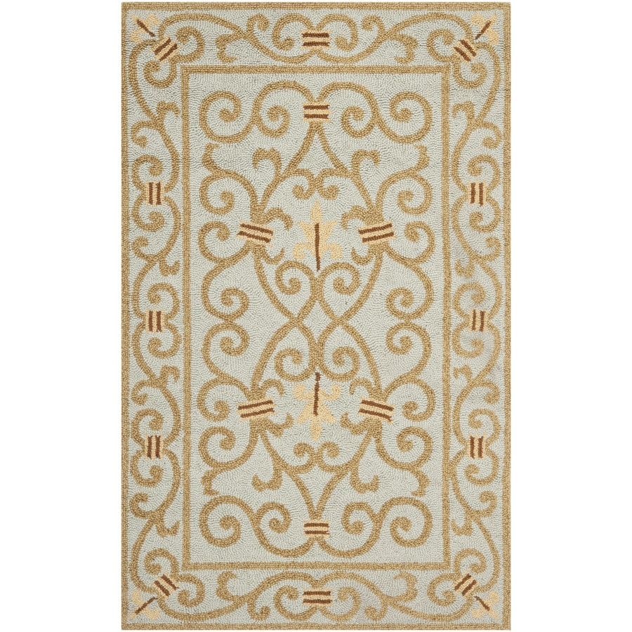 Safavieh Chelsea Iron Gate Light Blue Rectangular Indoor Handcrafted Lodge Throw Rug (Common: 3 x 5; Actual: 3.75-ft W x 5.75-ft L)