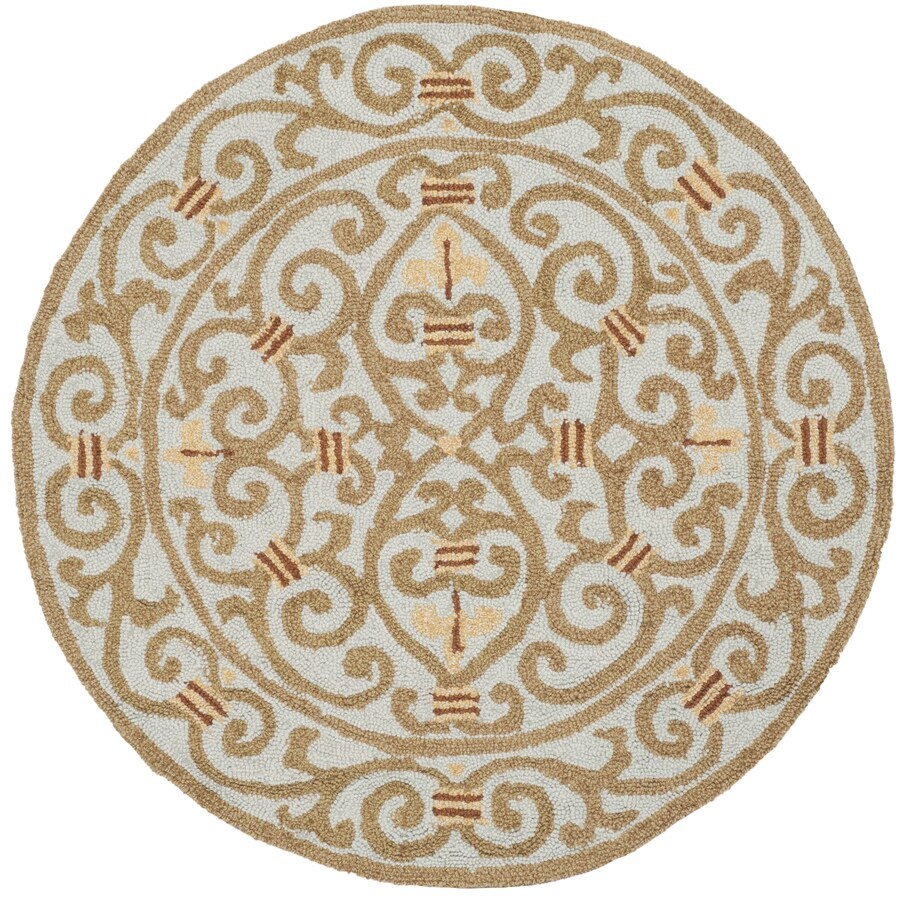 Safavieh Chelsea Iron Gate Light Blue Round Indoor Handcrafted Lodge Area Rug (Common: 4 x 4; Actual: 4-ft W x 4-ft L x 4-ft dia)