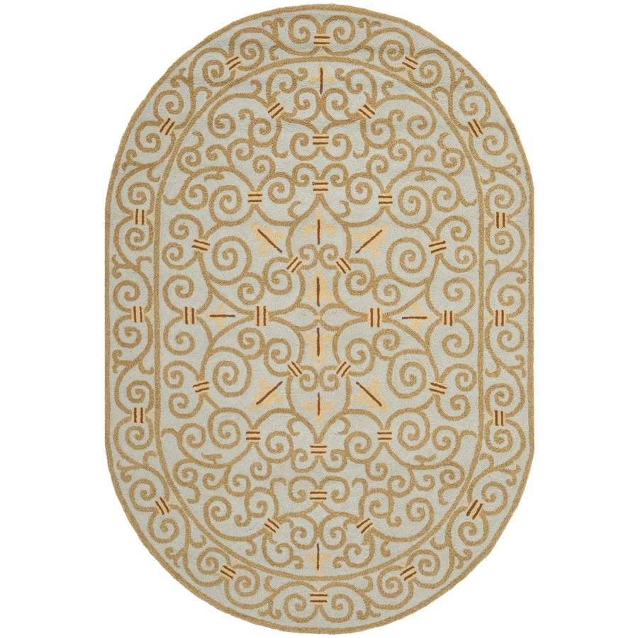 Safavieh Chelsea Iron Gate Light Blue Oval Indoor Handcrafted Lodge Area Rug (Common: 4 x 6; Actual: 4.5-ft W x 6.5-ft L)