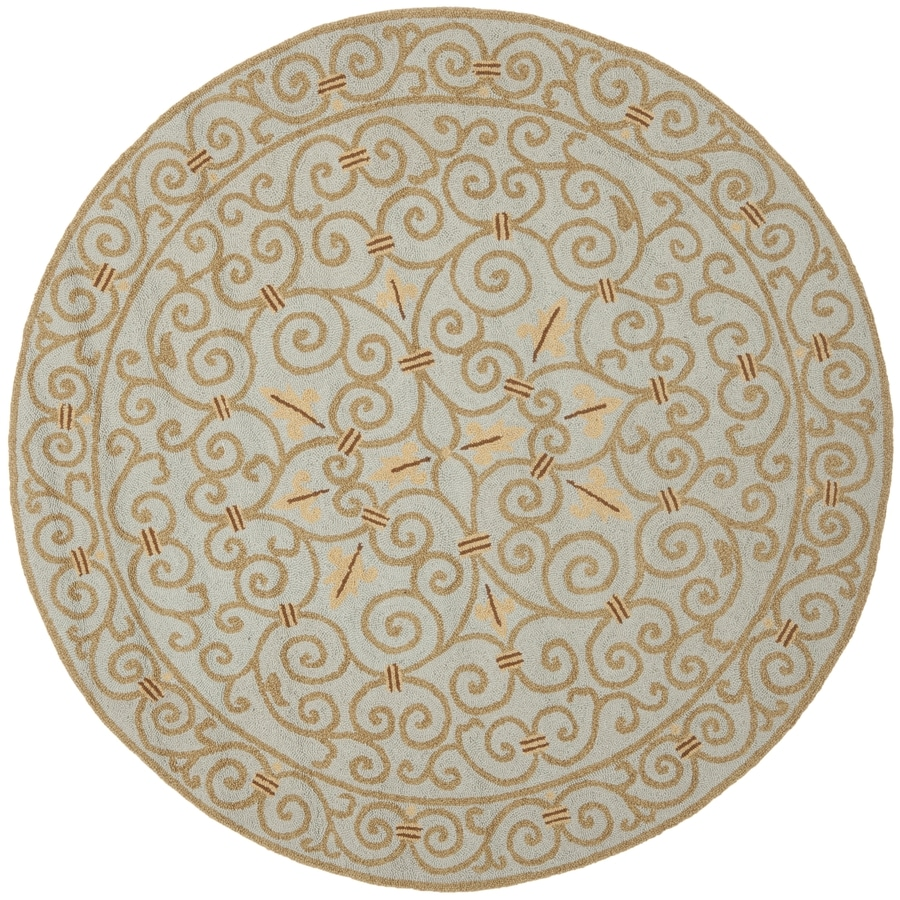 Safavieh Chelsea Iron Gate Light Blue Round Indoor Handcrafted Lodge Area Rug (Common: 5 x 5; Actual: 5.5-ft W x 5.5-ft L x 5.5-ft dia)
