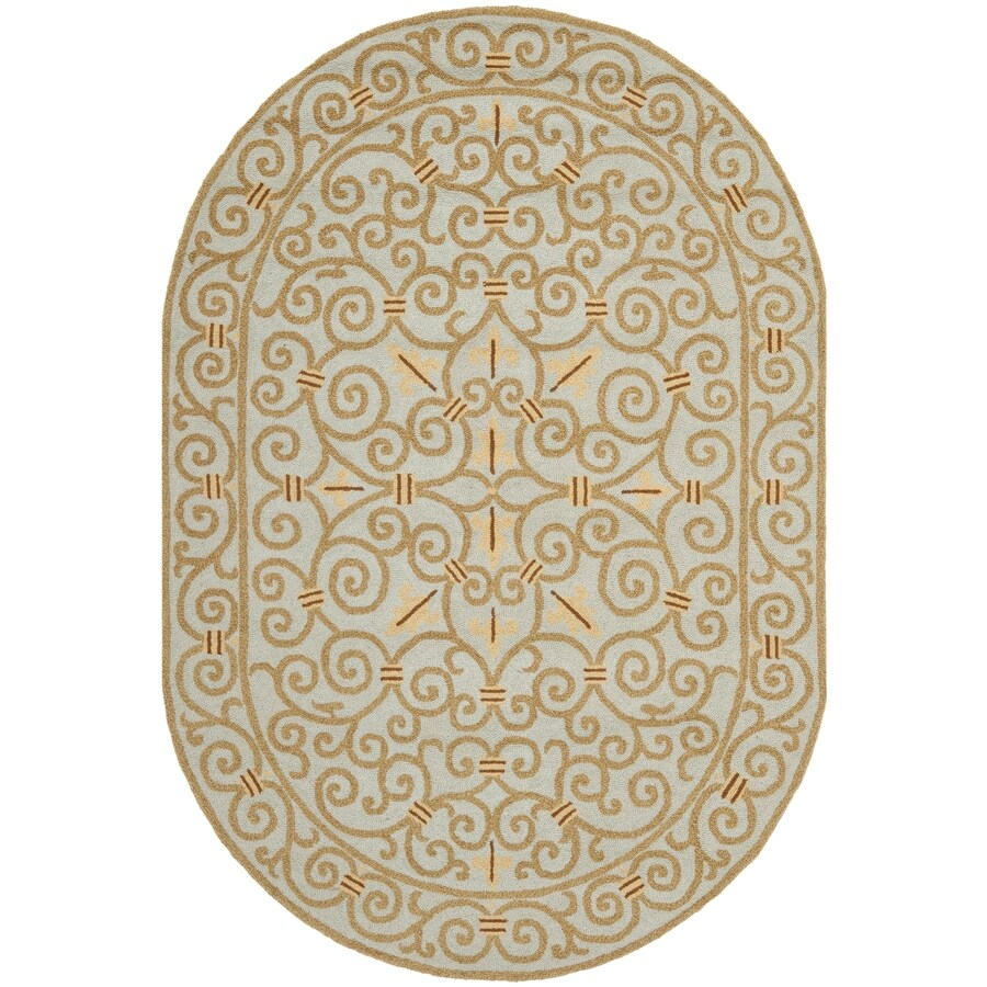 Safavieh Chelsea Iron Gate Light Blue Oval Indoor Handcrafted Lodge Area Rug (Common: 7 X 9; Actual: 7.5-ft W x 9.5-ft L)