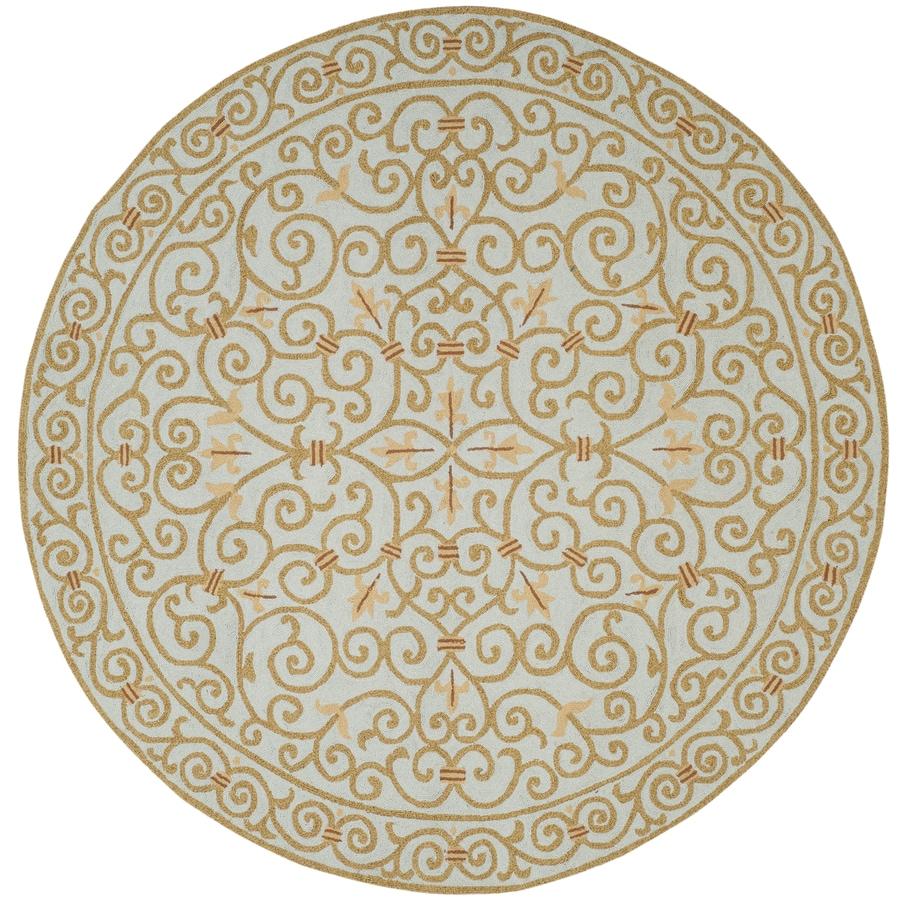 Safavieh Chelsea Iron Gate Light Blue Round Indoor Handcrafted Lodge Area Rug (Common: 8 x 8; Actual: 8-ft W x 8-ft L x 8-ft dia)