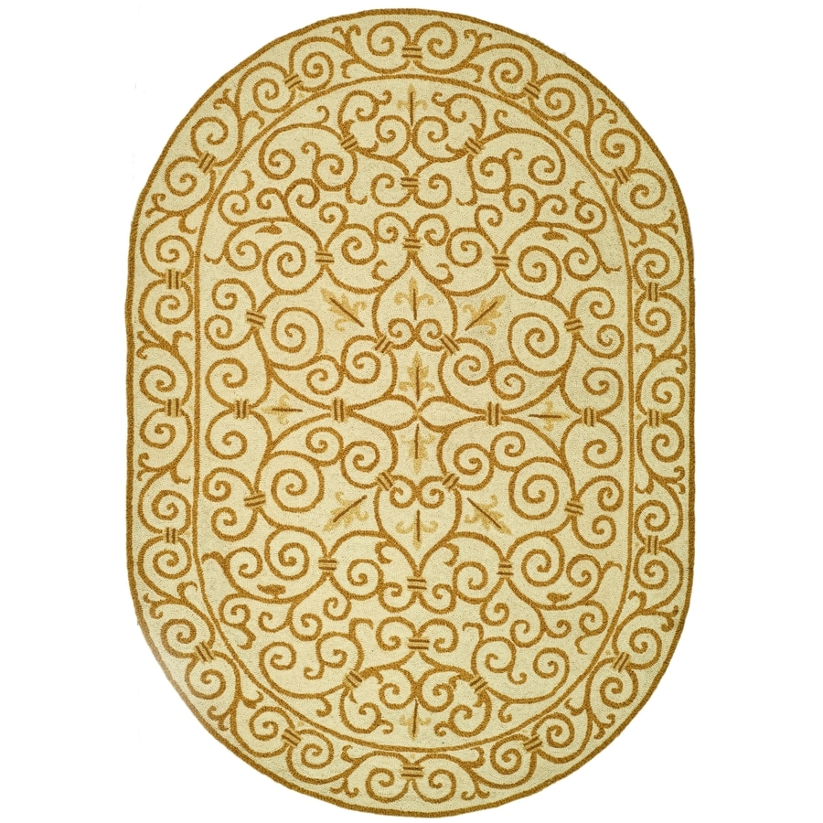 Safavieh Chelsea Iron Gate Ivory/Gold Oval Indoor Handcrafted Lodge Area Rug (Common: 4 x 6; Actual: 4.5-ft W x 6.5-ft L)