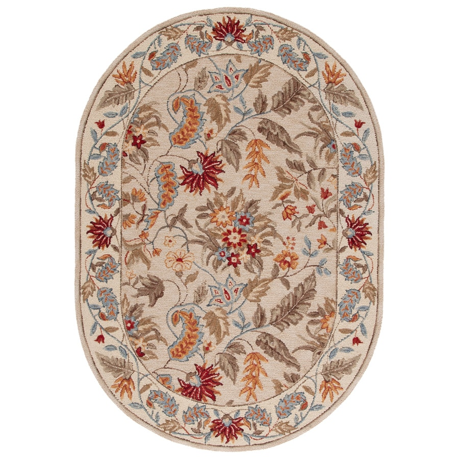 Safavieh Chelsea Spring Ivory Oval Indoor Handcrafted Lodge Area Rug (Common: 4 x 6; Actual: 4.5-ft W x 6.5-ft L)