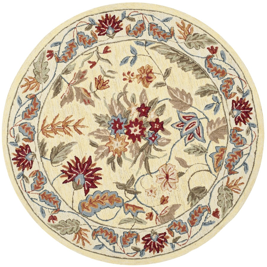 Safavieh Chelsea Ivory Round Indoor Hand-Hooked Lodge Area Rug (Common: 5 x 5; Actual: 5.5-ft W x 5.5-ft L x 5.5-ft Dia)