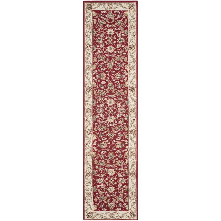 Safavieh Chelsea York Burgundy And Ivory Indoor Handcrafted Lodge Runner (Common: 3 x 12; Actual: 3-ft W x 12-ft L)