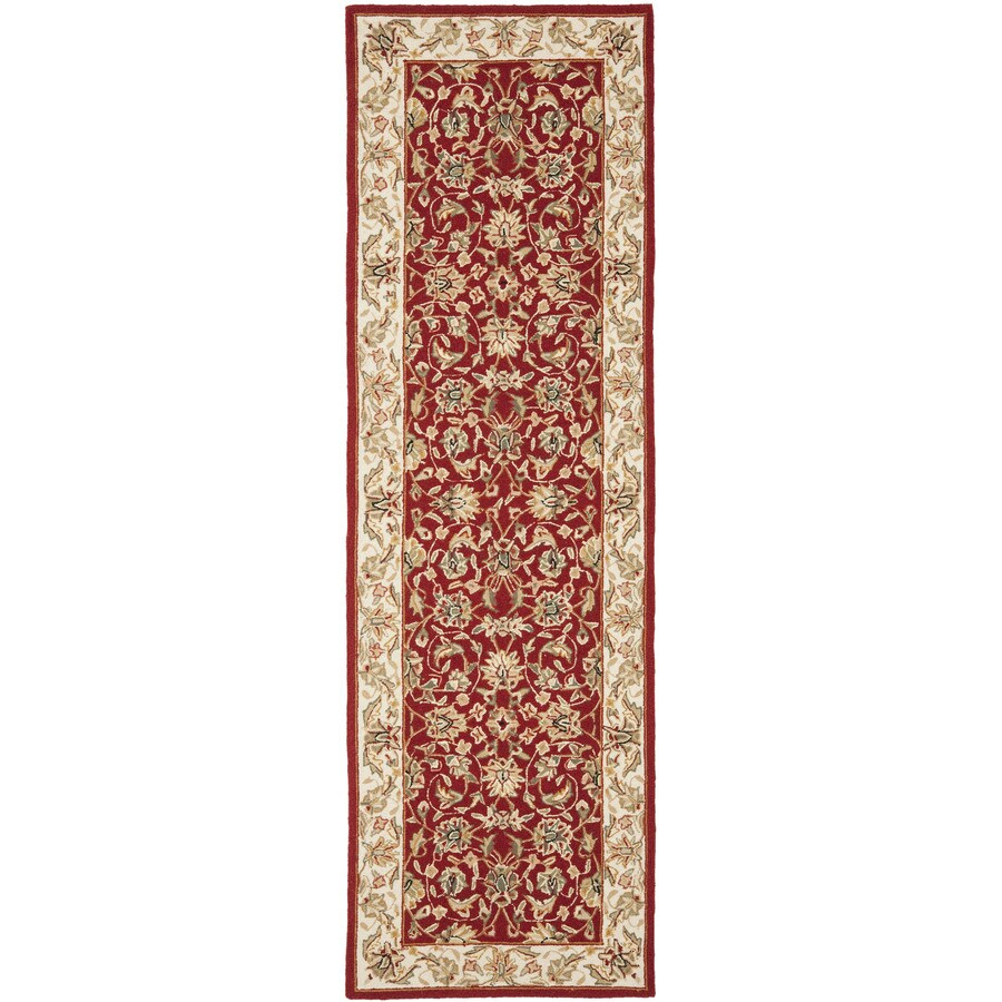 Safavieh Chelsea York Burgundy And Ivory Indoor Handcrafted Lodge Runner (Common: 3 x 8; Actual: 3-ft W x 8-ft L)