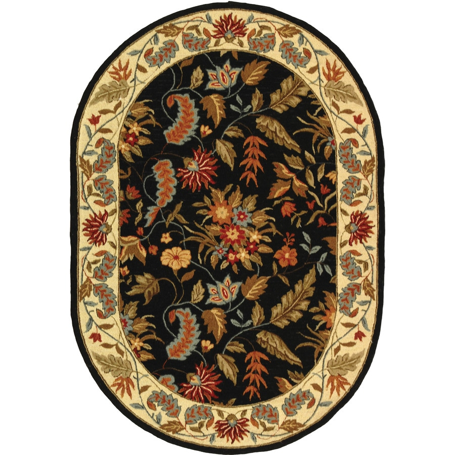 Safavieh Chelsea Spring Black Oval Indoor Handcrafted Lodge Area Rug (Common: 4 x 6; Actual: 4.5-ft W x 6.5-ft L)