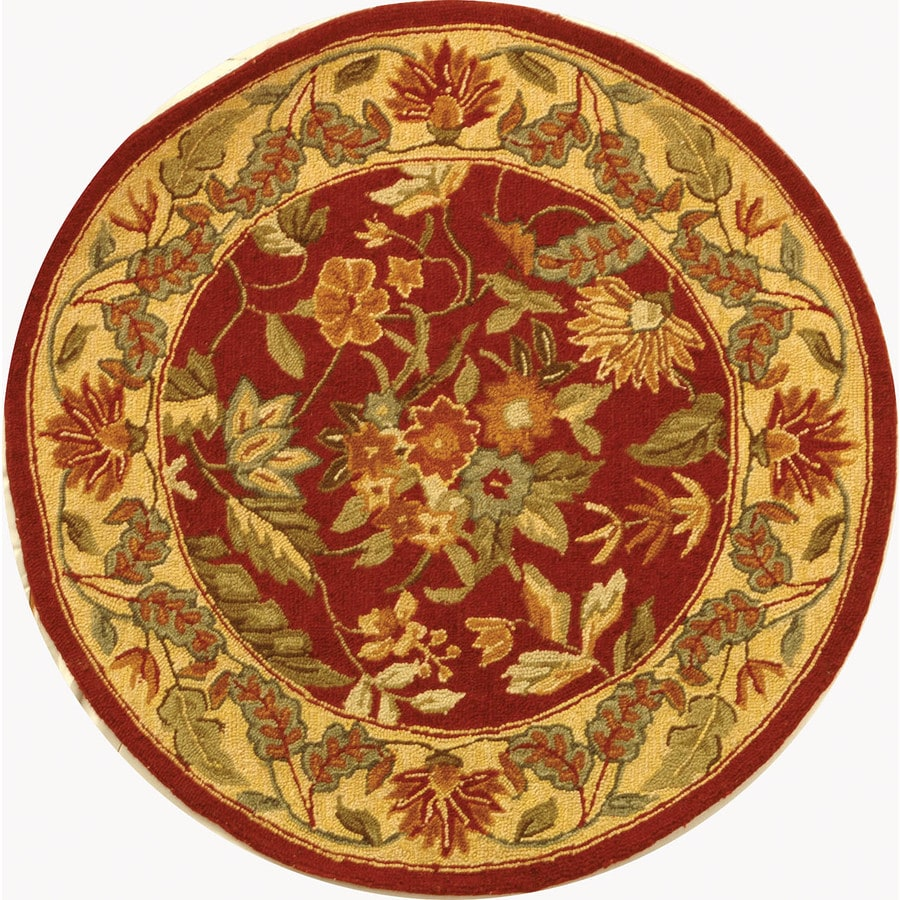 Safavieh Chelsea Red and Multi Round Indoor Handcrafted Lodge Area Rug (Common: 3.6 x 3.6; Actual: 4-ft W x 4-ft L x 4-ft Dia)