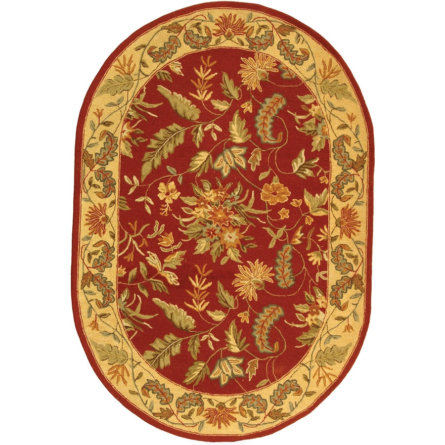 Safavieh Chelsea Spring Red Oval Indoor Handcrafted Lodge Area Rug (Common: 4 x 6; Actual: 4.5-ft W x 6.5-ft L)