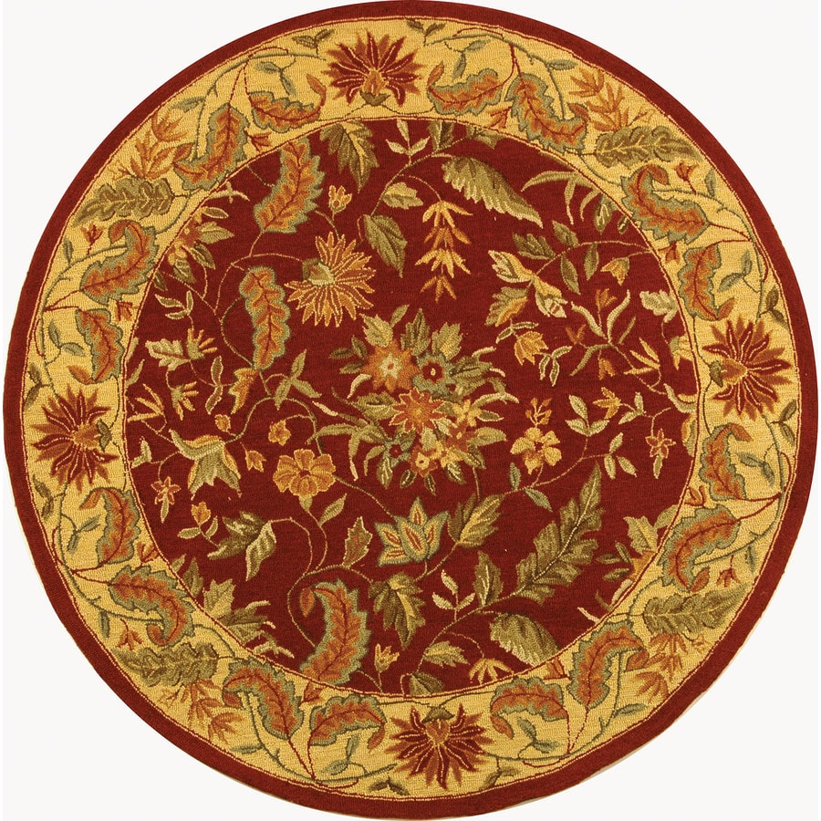Safavieh Chelsea Red and Multi Round Indoor Handcrafted Lodge Area Rug (Common: 5 x 5; Actual: 5.5-ft W x 5.5-ft L x 5.5-ft Dia)