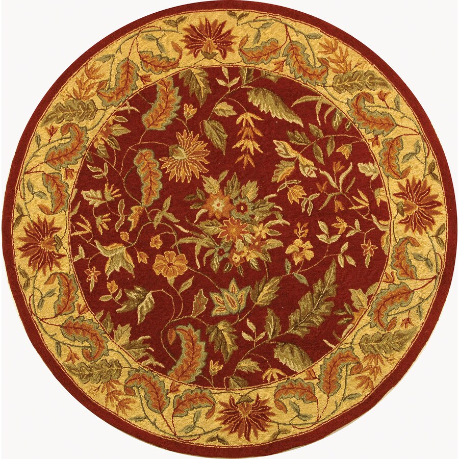 Safavieh Chelsea Red and Multi Round Indoor Handcrafted Lodge Area Rug (Common: 7.10 x 7.10; Actual: 8-ft W x 8-ft L x 8-ft Dia)