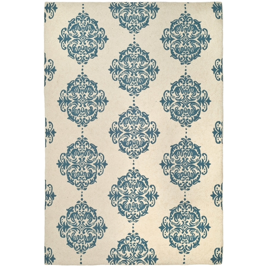 Safavieh Chelsea Damask Ivory and Blue Rectangular Indoor Handcrafted Lodge Area Rug (Common: 5 x 8; Actual: 5.25-ft W x 8.25-ft L)