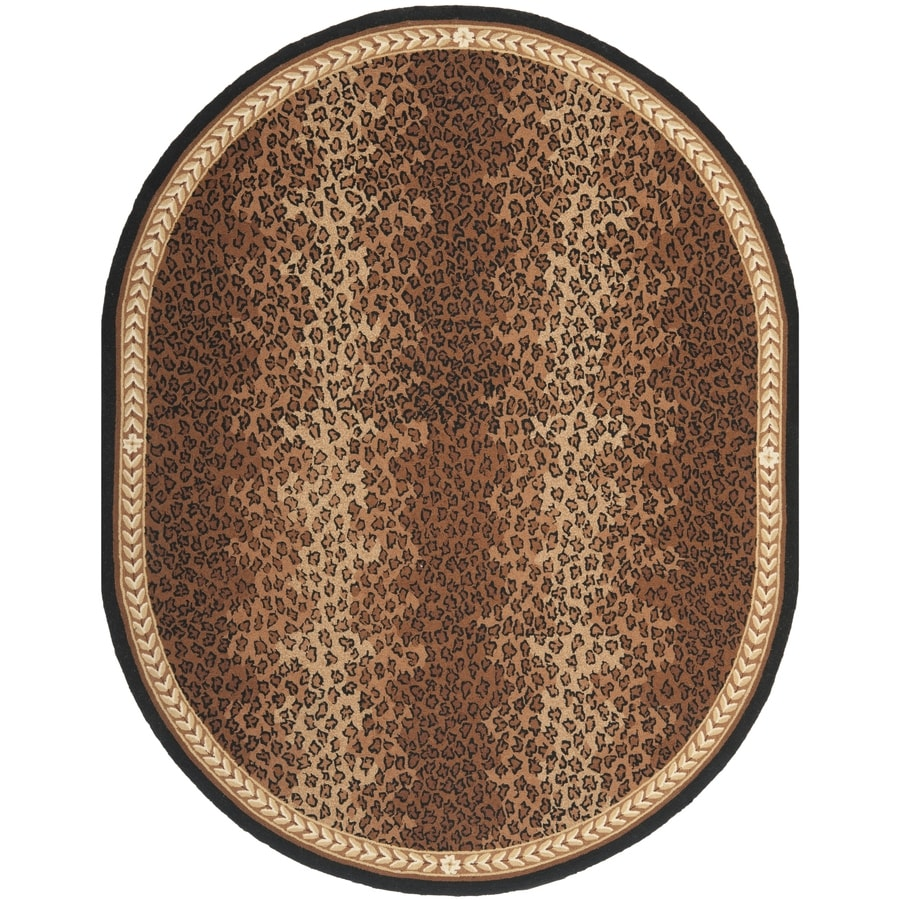 Safavieh Chelsea Leopard Black/Brown Oval Indoor Handcrafted Lodge Area Rug (Common: 4 x 6; Actual: 4.5-ft W x 6.5-ft L)