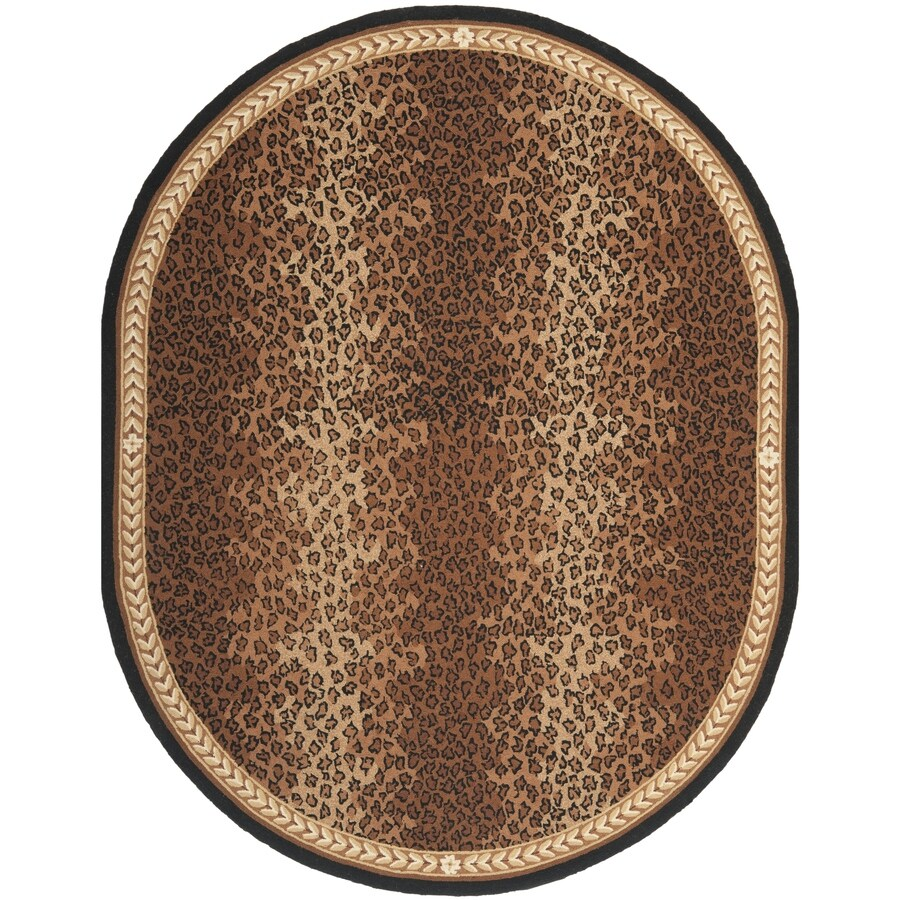 Safavieh Chelsea Leopard Black/Brown Oval Indoor Handcrafted Lodge Area Rug (Common: 7 x 9; Actual: 7.5-ft W x 9.5-ft L)