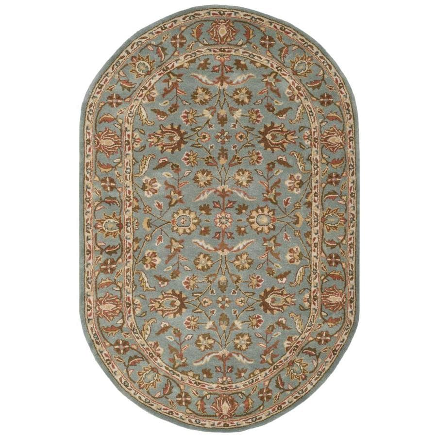 Safavieh Heritage Salor Blue/Blue Oval Indoor Handcrafted Oriental Area Rug (Common: 5 x 8; Actual: 5-ft W x 8-ft L)