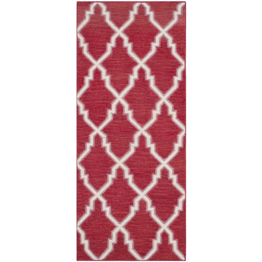 Safavieh Dhurries Red and Ivory Rectangular Indoor Woven Runner (Common: 2 x 10; Actual: 30-in W x 120-in L x 0.42-ft Dia)