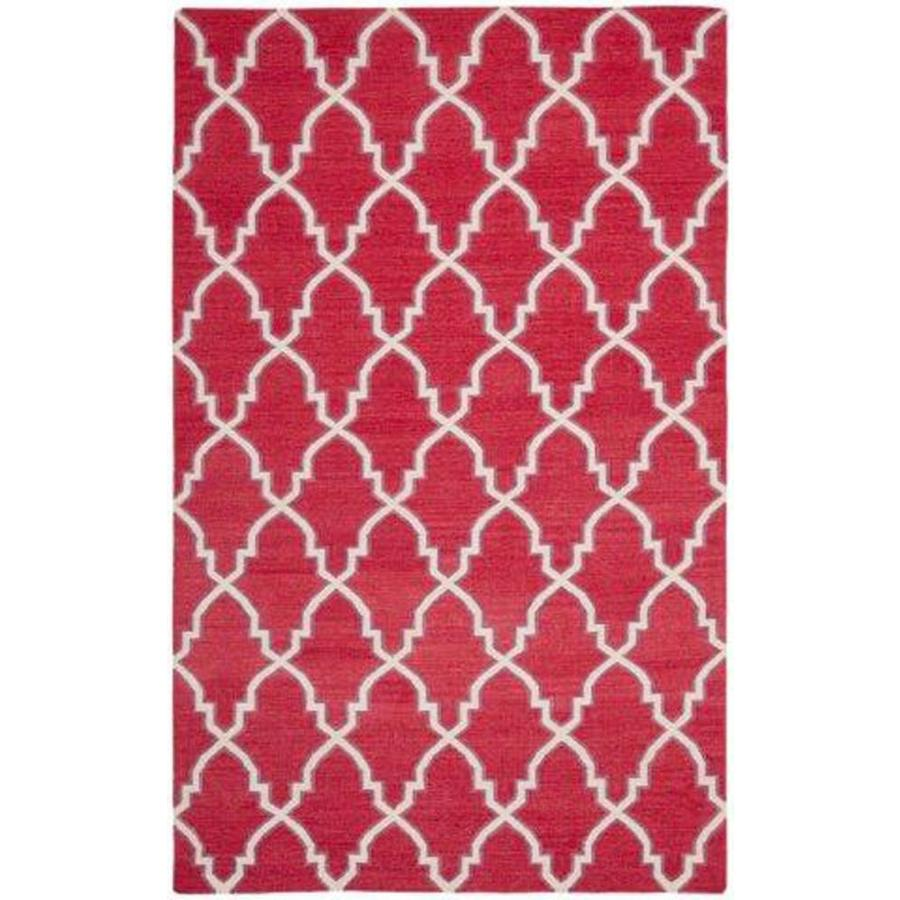 Safavieh Dhurries Redivy Red/Ivory Rectangular Indoor Handcrafted Southwestern Area Rug (Common: 6 x 9; Actual: 6-ft W x 9-ft L)