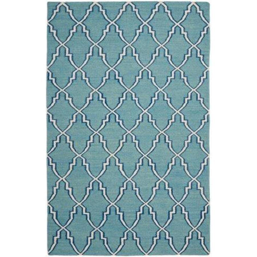 Safavieh Dhurries Redivy Light Blue/Ivory Rectangular Indoor Handcrafted Southwestern Area Rug (Common: 6 x 9; Actual: 6-ft W x 9-ft L)